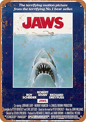 Jaws Shark Póster De Pared Metal Retro Placa Cartel Cartel De Chapa Vintage Placas Decorativas Poster por Café Bar Garaje Salón Dormitorio