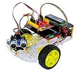 Kit De Coche Inteligente, Basado En Arduino Ultrasónico R3 Coche para UNO, Kits De Montaje De Coche RC con Pantalla LCD, Experimentos Científicos Hechos A Mano Juguetes Educativos
