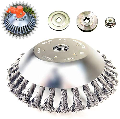 BGTOOL 6 inch Garden Rotary Weed Brush Joint Twist Knot Steel Wire Wheel Brush Disc Trimmer Head Universal fit Straight Shaft Trimmer with 4Pcs Gearbox Cover
