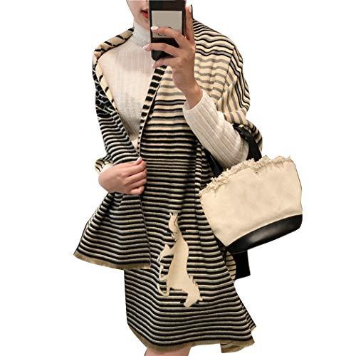 ROSELI Mode Winter Frauen Kaschmir Schal Luxus Retro Warmen Schal Schal L?Ssig Farbe Warme Gestreifte Decke Schwarz