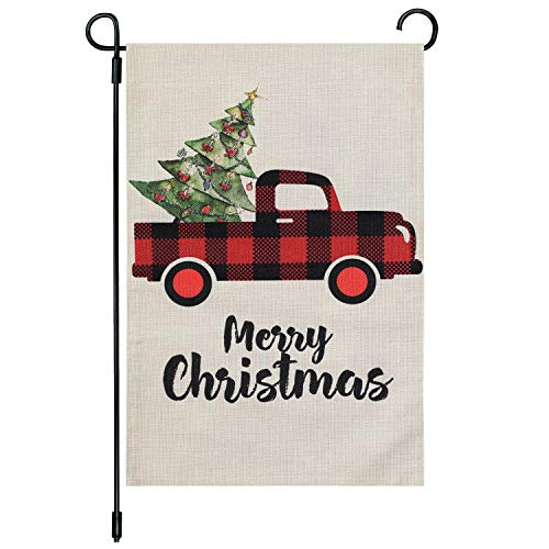 Cynosa Christmas Garden Flag Vertical Double Sided, Merry Christmas Yard Flag with Red Buffalo Check Plaid Truck Vintage Tree, Winter Christmas Yard Outdoor Decorations 12.5 x 18 Inches