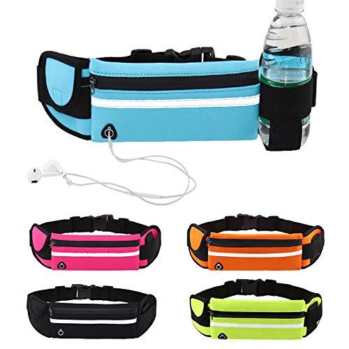 Fortitude Sports Hardloopgordel met telefoonhouder, heupzakken voor hardlopen voor mobiele telefoons, hoofdtelefoons en drinkfles, waterdichte riem voor dames en heren