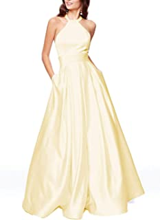 Jonlyc Women's A-Line Halter Satin Beaded Long Prom Dresses Evening Formal Gown with Pockets