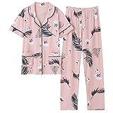 Big Yards M-4XL Conjuntos de Pijamas Femeninos Ropa de Dormir de algodón Pijamas de Manga Corta de Verano Cárdigan Animal Ropa de Dormir Pijamas de Mujer