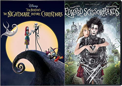 Pumpkin Jack Skellington Visionary Director Tim Burton Edward Scissorhands DVD + Nightmare Before Christmas Disney Animated Musical Fantasy 2 film Double Feature Bundle