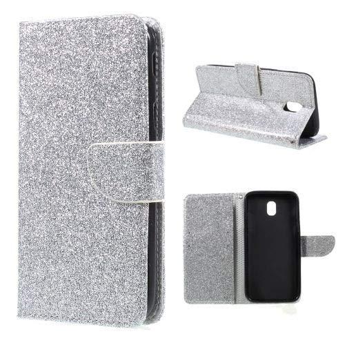 jbTec Handy Hülle Case Glitzer passend für Samsung Galaxy J5 2017 - Handyhülle Schutzhülle Phone Cover Tasche Handytasche Zubehör Smartphone Flip, Farbe:Silber