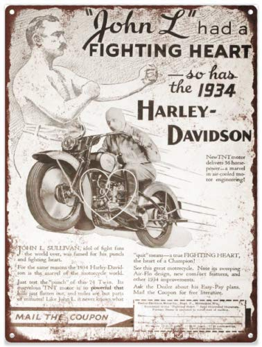 Laptopo 1934 Harley Davidson Fighting Heart Twin 74 - Cartel de Metal (8 x 12)