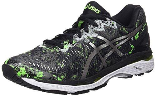 Asics Gel-Kayano 23, Zapatillas de Running para Hombre, Color Negro (Black/Silver/Green Gecko), 46 EU (10.5 UK)