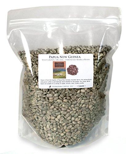 Papua New Guinea Organic Wild-grown Unroasted Green Coffee Beans (3 LB)
