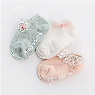 LiuQ, Bebé Calcetines 3 pares / paquete Calcetines del bebé recién nacido del algodón del tobillo calcetines del niño antideslizante del piso del calcetín de los bebés de la flor del Bowknot calcetines de l