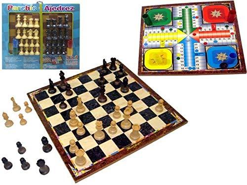 Rama- Tablero PARCHIS 4 Y AJEDREZ 41X41 con FICHAS, Multicolor (90574)