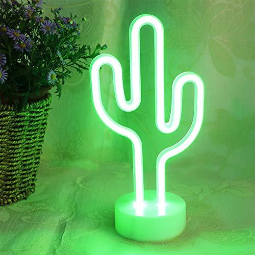 LH LED con forma de cactus de neón signos de luz con la base del sostenedor decoración de la tabla de la lámpara de noche con pilas luces de neón / USB para la habitación de los niños