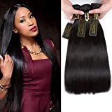 QTHAIR 12A Brazilian Virgin Hair Straight Human Hair 100% Unprocessed Brazilian Virgin Straight Hair Weave Brazilian Straight Hair Extensions (16' 18' 20',300g,Natural Black)