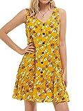 MSBASIC Tank Dress Sleeveless V Neck Sundress Dresses for Women Plus Size Yellow XL