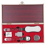 Kit de recortador de talones, lima de metal profesional para pies, mango de madera con patrón de color de acero inoxidable, herramienta para el cuidado de callos de piel dura y muerta, 5 piezas