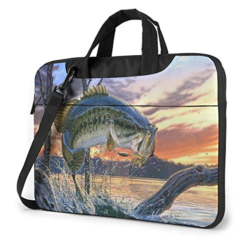 Laptop Sleeve Case,Fish Go Fishing Briefcase Messenger Notebook Computer Bag 14 Inch