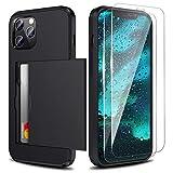 Zuslab Compatible con Apple iPhone 12/ iPhone 12 Pro 2020 Ranura Tarjeta Funda,[2 Pack Cristal Templado] TPU antichoque Case - Negro