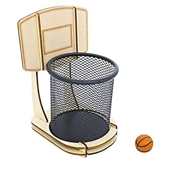 GUOZI Creative Pen Pencil Holder Handmade Wooden Basketball Stand Pencil Organizer with a Ball Metal Mesh Pencil Cup for Kids Desk Office Home School Supplies Birthday Christmas Ideal Gift etc.