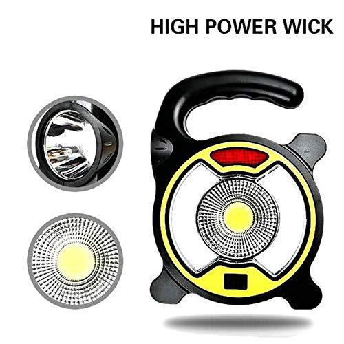 USB Rechargeable LED Portable Lanterne extérieure étanche d'urgence Projecteur Lampe pour Camping Randonnée Tente Lumière Yellow