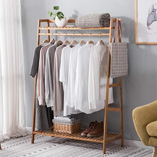 Lfixhssf Trapeziumvormige kledingrek bamboe eenvoudige landing ophanging slaapkamer ingang opslag rek schoenenkast met 2 rekken Lfixhssf 100×40×140cm