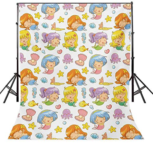 10x20 FT Backdrop Photographers,Collection of Adorable Kid Mermaids and Icons Fishes Shells Seastars Fantasy Fairy Background for Child Baby Shower Photo Vinyl Studio Prop Photobooth Photoshoot