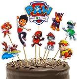 72 piezas de decoración para tartas de cumpleaños de la Patrulla Canina, decoración de cupcakes para cumpleaños de niños, fiesta de baby shower, DIY lindo tema decoración de tartas