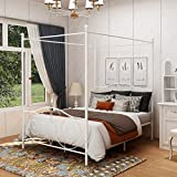 DUMEE Full Size Metal Canopy Bed Frame with Simple Modern Style Headboard & Footboard Sturdy Iron Steel Easy DIY Assembly White