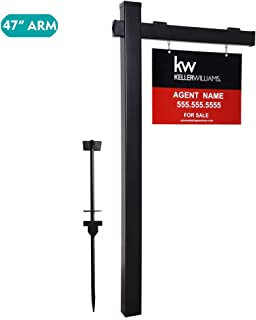 kdgarden Vinyl PVC 6-Feet Black Real Estate Sign Post with Flat Cap, Realtor Yard Sign Post for Open House and Home for Sale, 47