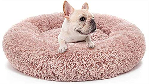 Pet Bed, Cat Dog Beds, Plush Donut Soft Comfortable Round Waterproof Anti-Slip Bottom Calming Dog Bed For Dogs Mattress Extra Large, Pink XYXG