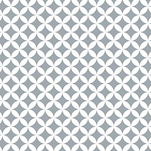 Venilia Klebefolie Monica Grau Geometrisches Motiv, Retro-Muster, Dekofolie, Möbelfolie, Tapete, selbstklebende Folie, PVC, ohne Phthalate, 45cm x 1,5m, Stärke 0,095mm, 54767