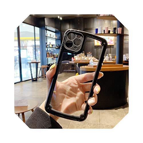 Luxury - Carcasa transparente para iPhone 11 12 Pro Max Mini se 2020 X XR XS Max 7 8 Plus Camera Candy Color Cover Case para iPhone 11 Pro