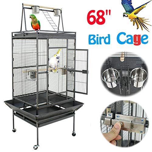 Nova Microdermabrasion 61/68 Large Bird Cage Play Top Parrot Cockatiel Parakeet Chinchilla Macaw Cockatoo Cage W/Stand Perch Pet Supplies (68)