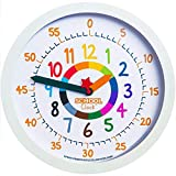 Time Teacher School Clock - Silent Non Ticking Wall Clock 12'' with Play Clock Included to Teach The Digital & Analog Time - Easy to Read Dial - Perfect for Kids Bedroom or Teacher Classroom