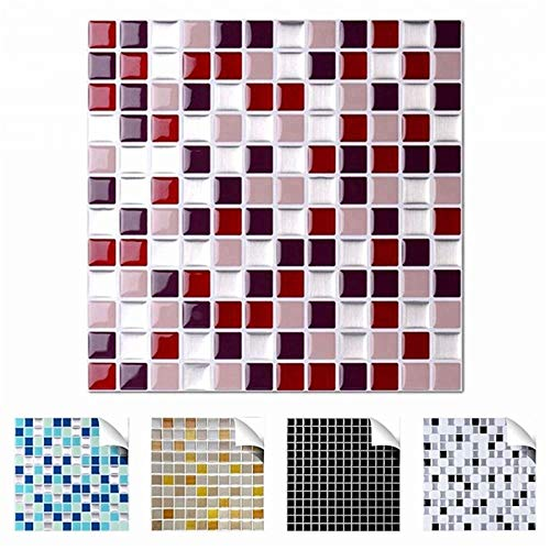 SZBLYY Pegatinas baldosas Tile Vivid Mosaico Mosaico Mosaico Pegatina Etiqueta Etiqueta Etiqueta DIY Cocina Baño Hogar Adhesivo Atrás Spetsplash Vinilo Decorativo (Color : TSQS60)