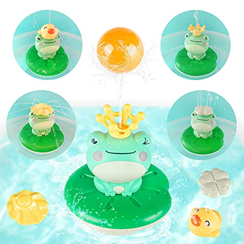 Sinoeem Baby Bath Toys, 4 in 1 Frog Spray Water Sprinkler Shower Toys Bathtub Pool Float Toys Water Spray Bath Toys for Toddler 6-12 Months 1 2 3 + Year Old Boy Girl