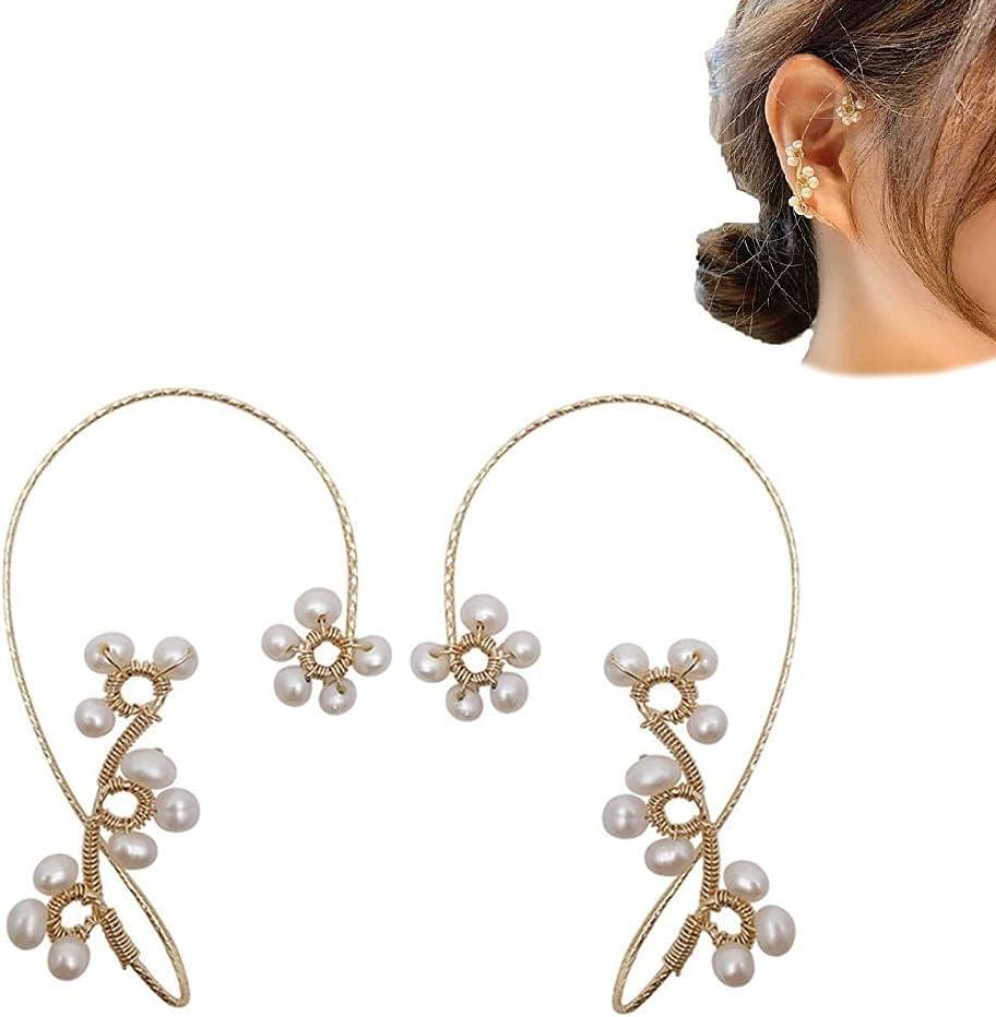 Vintage Ear Cuff Earrings, Women Ear Wrap Crawler Hook Earring Non Piercing Jewelry, Hand-Woven Pearl Flower Ear Clips, Fashion Beading Ear Hook