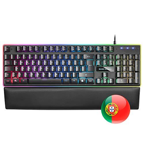 Mars Gaming MK320, Teclado RGB H-Mech, Reposamuñecas Acolchado, RGB 13 Modos,...