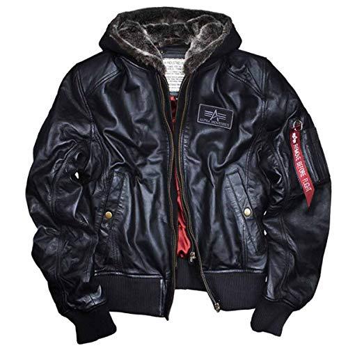 ALPHA INDUSTRIES MA-1 D-Tec Leather,schwarzes Lammnappa mit herausnehmbarem Sweateinsatz,gefütterter Kapuze Bomber-Piloten-Jacke Echtleder Windschutzleiste (M, Black)