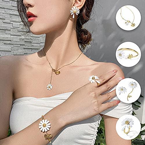 anillo de margarita de plata esterlina para las mujeres, collar 3D Pendientes Pulseras Anillo Set, Anillo Abierto Ajustable Regalos de joyería para las mujeres Madre nieta Esposa preciosas niñas