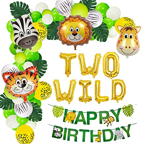 Jungle Theme 2nd Birthday Party Supplies Safari Balloons Garland Arch Kit Decorations, TWO WILD Animals Balloons, Green Artificial Palm Leaves