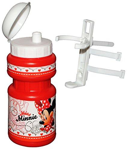 alles-meine.de GmbH Fahrradtrinkflasche - Disney Minnie Mouse - mit Halterung - Halter für Kinder Fahrradflasche - Fahrrad Trinkflasche - Mädchen Maus Mäuse - Playhouse - Flasche..
