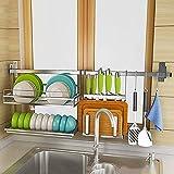 Estudio de secado de platos sobre el plato de fregadero Conjunto de estantes de secado, Colture Colgando 304 Secador de plato de acero inoxidable Estante de secador con soporte de cuchillo Ganchos Sav