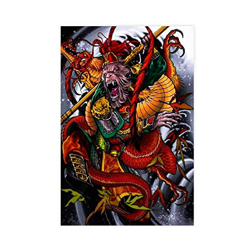 Oriental Mythology Poster Journey to The West Poster Sun Wukong Poster Canvas Poster Wall Art Decor Print Picture Paintings for Living Room Bedroom Decoration 12×18inch(30×45cm) Unframe-style1