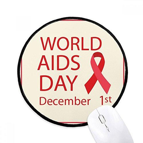DIYthinker hiv rood lint 1 december aids dag ronde anti-slip muisgaten zwart getuiste randen spel office gift