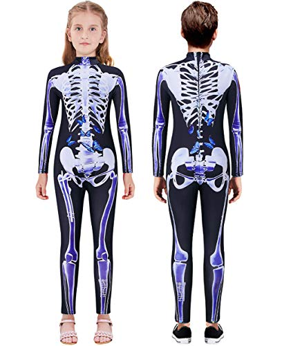 Lovekider Halloween Outfit Scary 3D Print Skeleton Cosplay Costumes Fashion Jumpsuit Bodysuit for Girls 9-10 Years