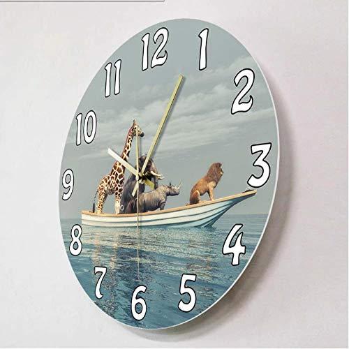 mazhant Animales Salvajes sentados en un Barco 3D Render Ilustración Reloj de Pared León Rinoceronte Elefante Jirafa Vida Salvaje Africana Reloj de decoración del hogar-30X30cm