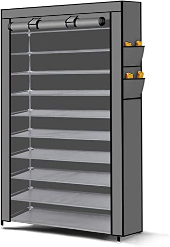 Levede 10 Tier Shoe Rack Portable Storage Cabinet Organiser Wardrobe Grey Cover