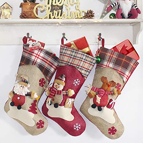Christmas Stocking, 20' Personalized Xmas Stockings Set of 3 with 3D Snowflake Santa, Snowman, Reindeer, Classic Plaid Stocking Decorations for Xmas Tree Holiday Family Party