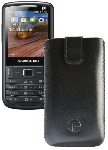 Original Favory Etui Tasche für / Samsung C3780 / Leder Etui Handytasche Ledertasche Schutzhülle Hülle Hülle Lasche mit Rückzugfunktion* in Schwarz