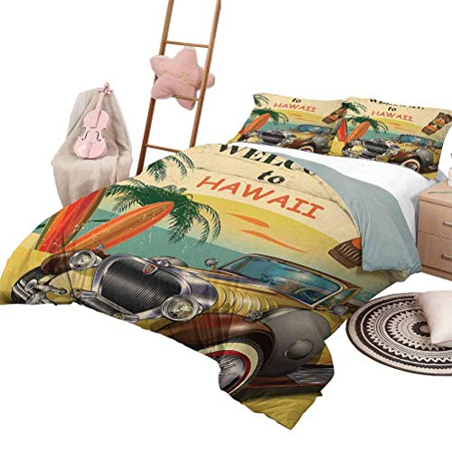 Daybed Quilt Set Retro Kids Bedding Sets Twin Welcome to Hawaii American Pop Art Print with Aged Car Palms Tribal Mask and Surfboards Queen Size Multi
